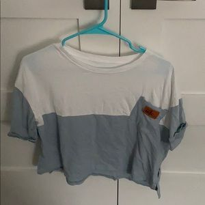 blue and white pocket tee